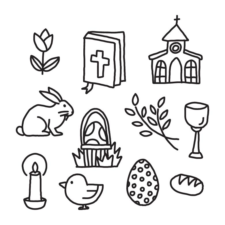 Free Stock Photo of Black & White Easter Vector Elements Created by Sara