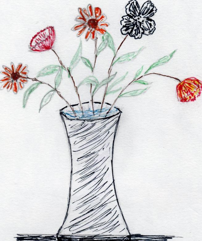 Flower Vase Hand Drawn Art Free Stock Photo By Rudy Liggett On