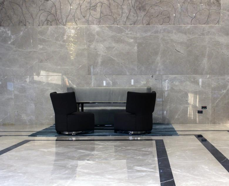 Sofa and Chairs in a Marble Hotel Lobby - Free Stock Photo