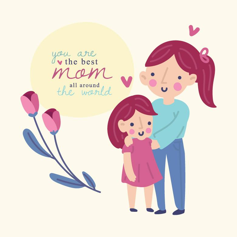 Mom And Daughter Love Vector Illustration Free Stock Photo By