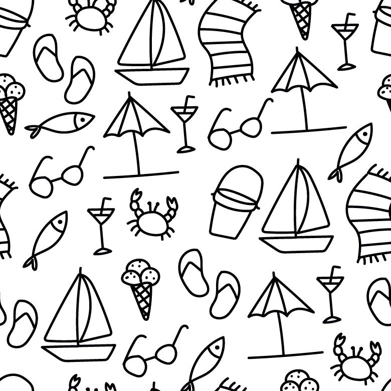 Free Stock Photo of Black and White Summer Vector Pattern Created by Sara