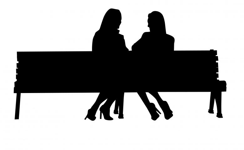 Free Stock Photo of Silhouette of Friends Sitting on Bench Created by mohamed hassan