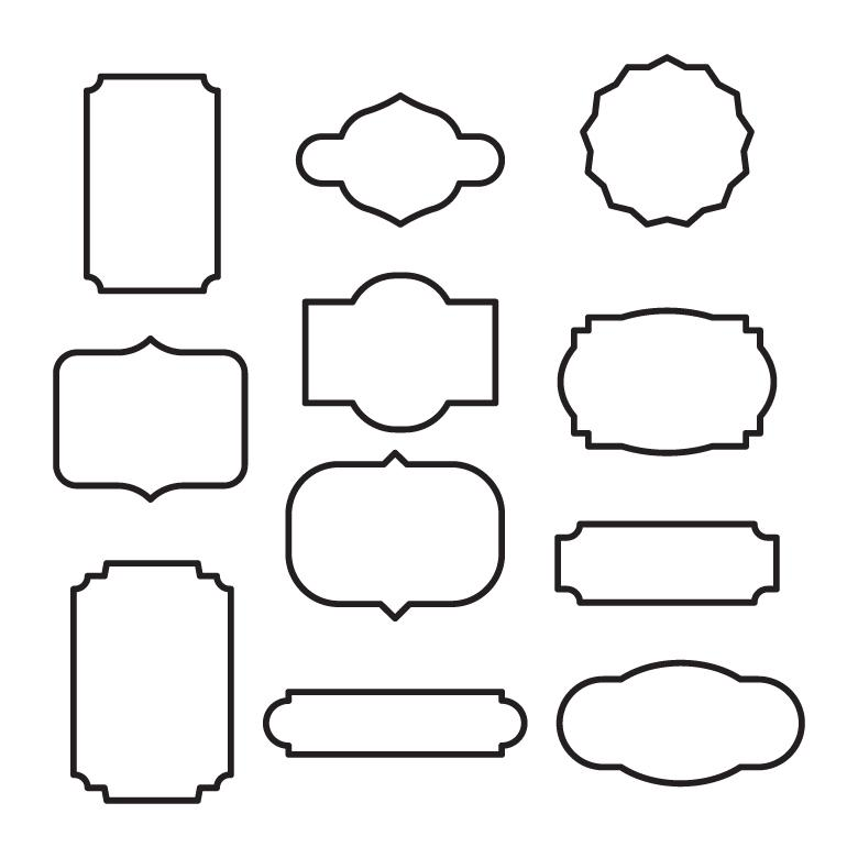 Free Stock Photo of Black and White Outlined Vector Frames Created by Sara