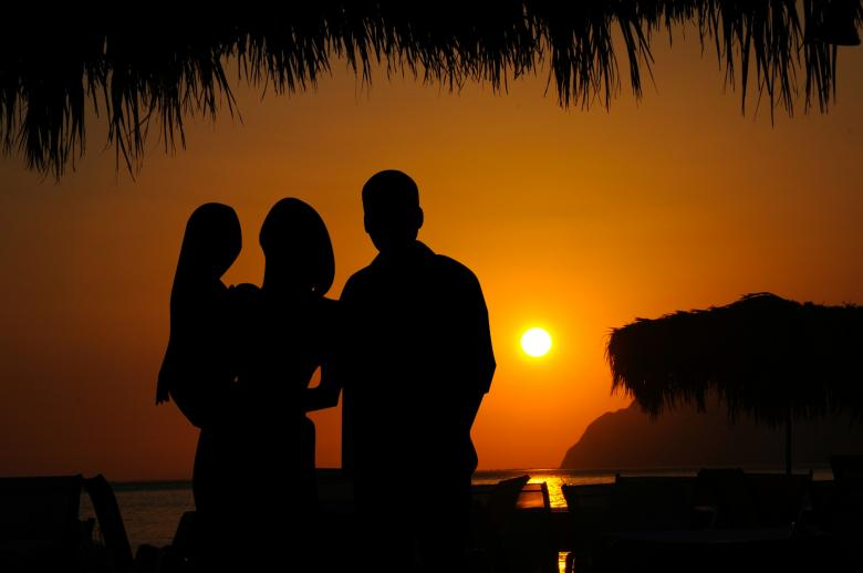 Free Stock Photo of Family Vacation Silhouette Created by mohamed hassan