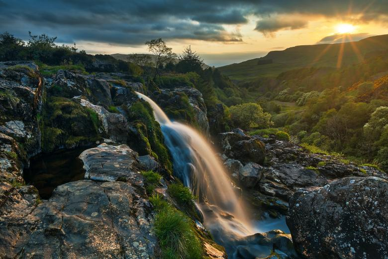 Free Stock Photo of Loup of Fintry Sunset Waterfall Created by Nicolas Raymond