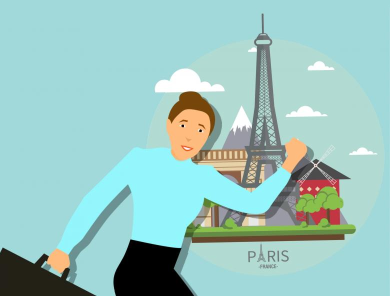 Traveling to France - Free Travel Illustrations