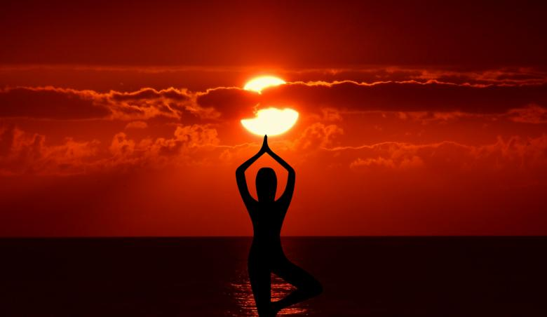 Free Stock Photo of Yoga Pose at Sundown Created by mohamed hassan