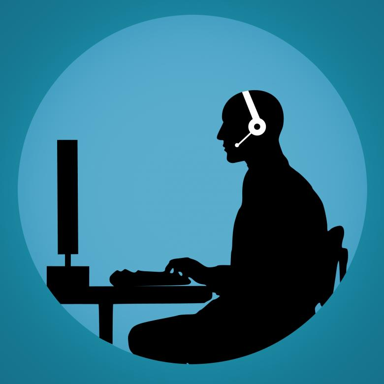 Free Stock Photo of Silhouette of Man in Call Center Created by mohamed hassan
