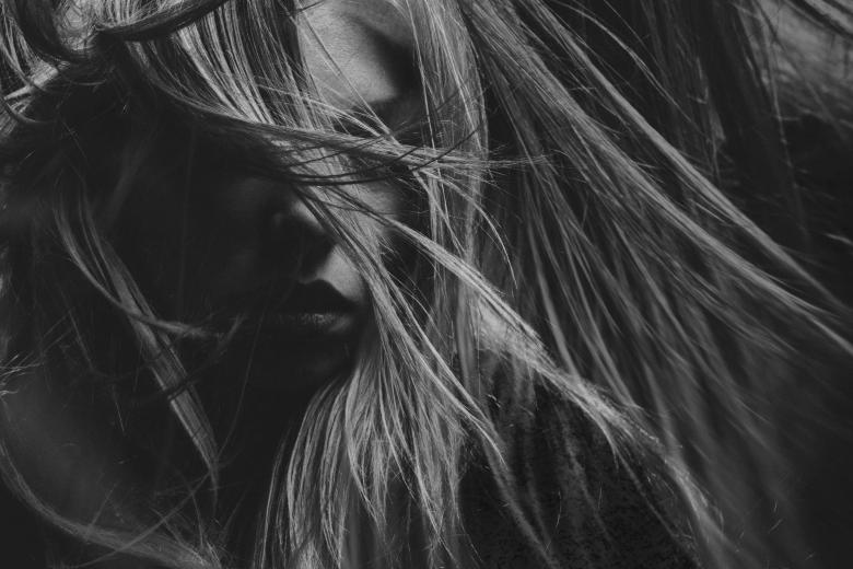 Free Stock Photo of Hair Model in Black and White Created by Alexander Krivitskiy
