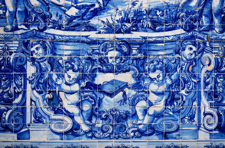 Free Stock Photo of Ancient Typical Portuguese Tiles - Azulejos - Porto - Portugal Created by Jack Moreh