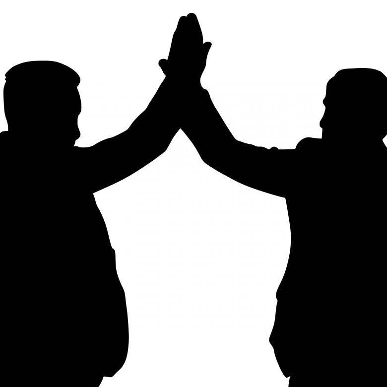 Free Stock Photo of High Five Silhouette Created by mohamed hassan