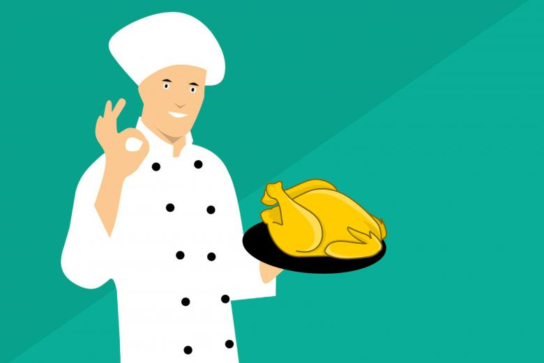 Free Stock Photo of Illustration of Chef Showing Chicken Created by mohamed hassan
