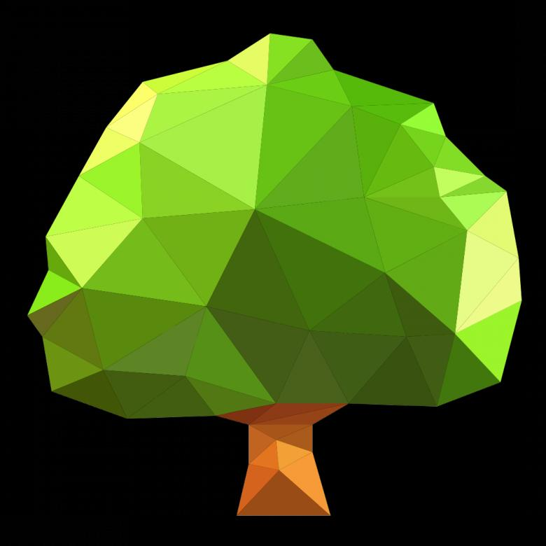 Free Stock Photo of Polygonal Big Green Tree Created by Helen