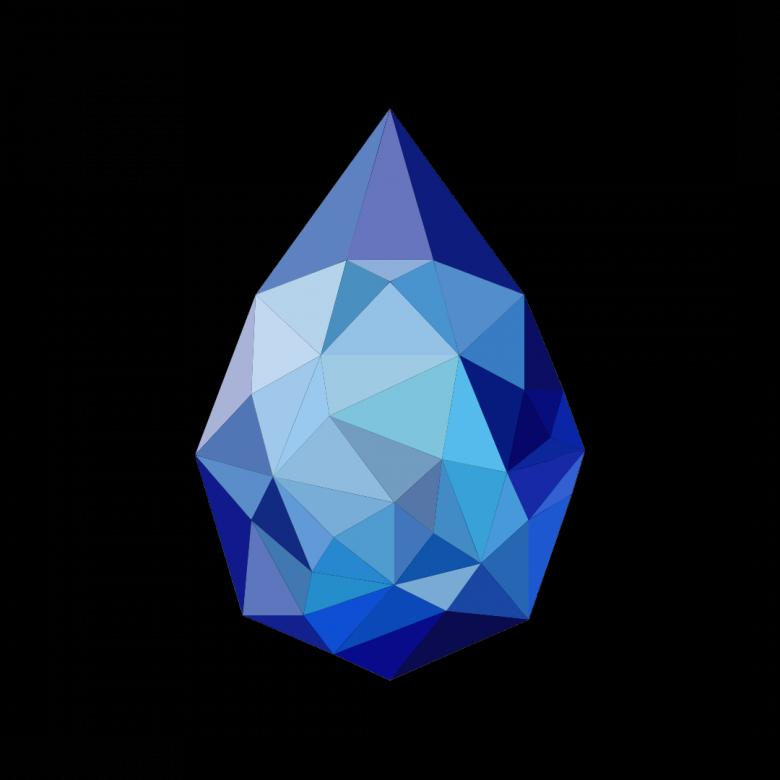 Free Stock Photo of Blue Polygonal Drop Crystal Created by Helen