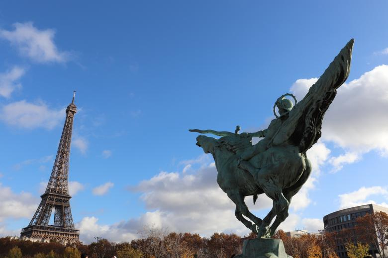 Free Stock Photo of Don Quixote of Paris fighting the Eiffel Tower Created by GAIMARD Jacques