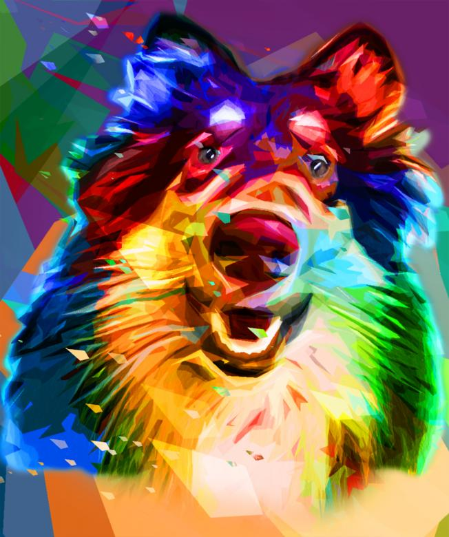 Free Stock Photo of Colorful dog artwork Created by archy-one