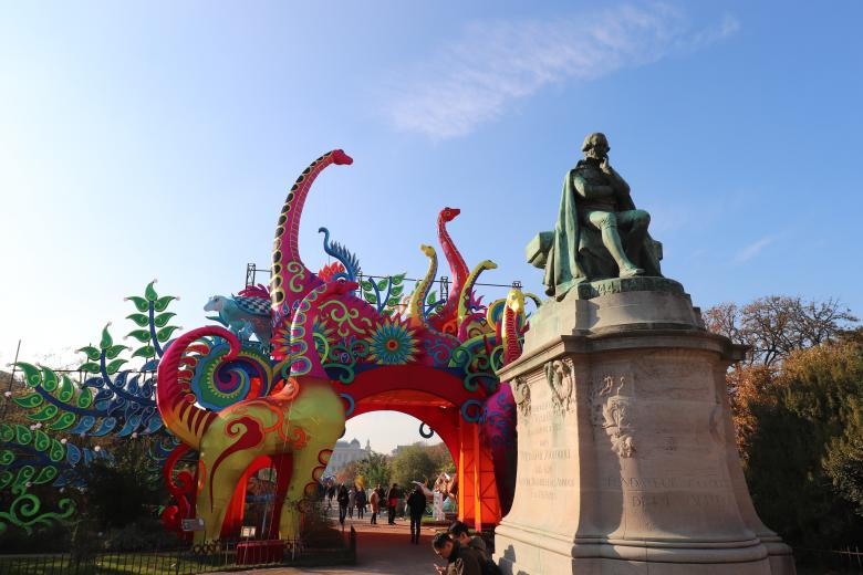 Free stock image of Colorful entrance of an incredible exhibition of silk animals created by GAIMARD Jacques