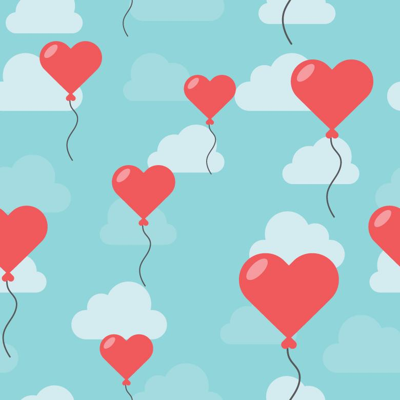 Hearted Balloons In The Sky - Free Love Stock Photos