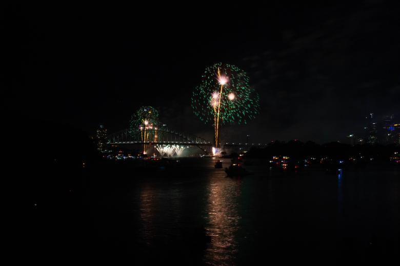 Free Stock Photo of Fireworks Over the Sydney Harbour Bridge Created by Tom Hill