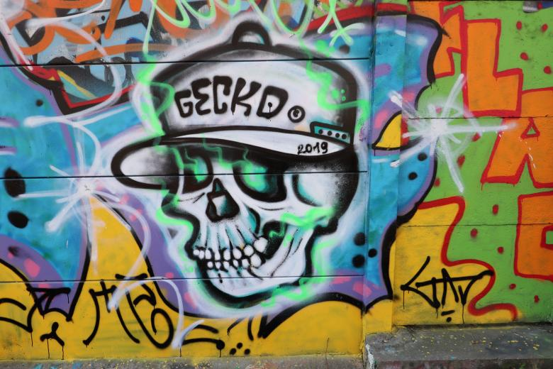 Free Stock Photo of Street art skull graffiti Created by GAIMARD Jacques