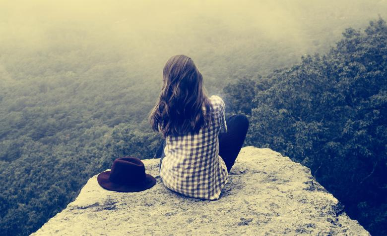 Free Stock Photo of Girl Sitting on Ledge - Vintage Looks Created by Jack Moreh