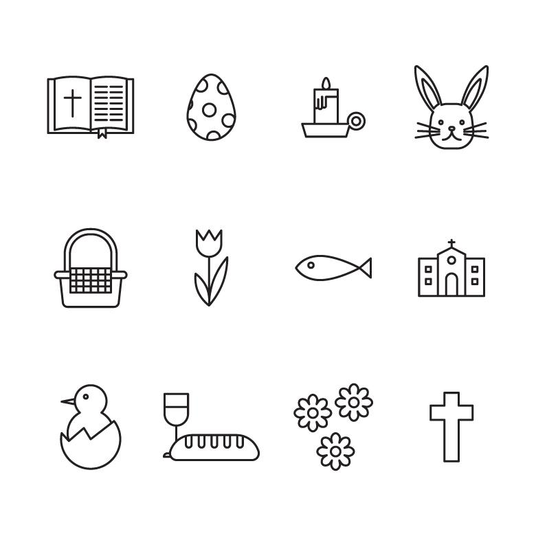 Free Stock Photo of Easter Black & White Icons Created by Sara