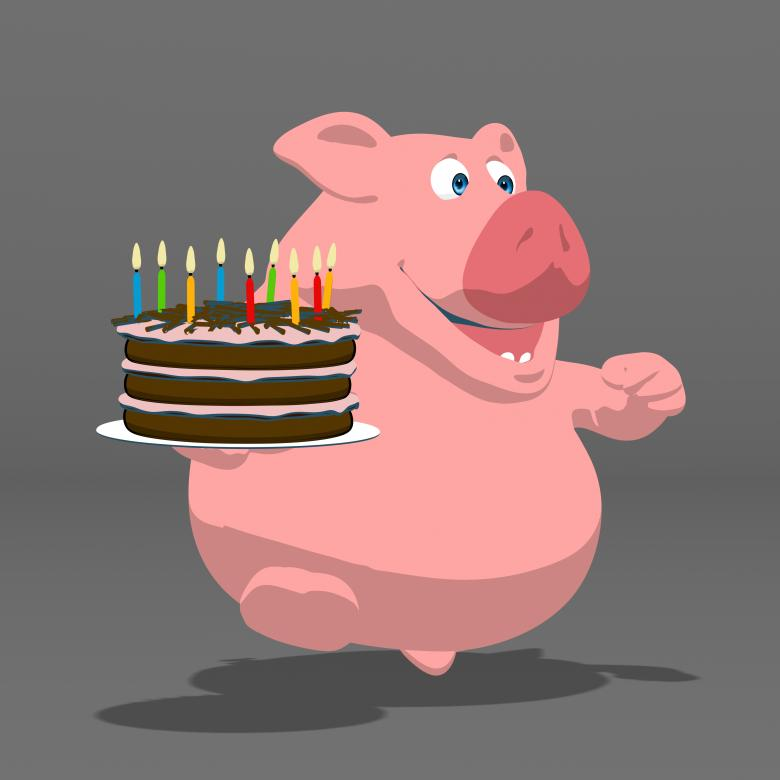 Enjoyable Fun Fat Pig And Cake Free Stock Photo By Julien Tromeur On Funny Birthday Cards Online Necthendildamsfinfo
