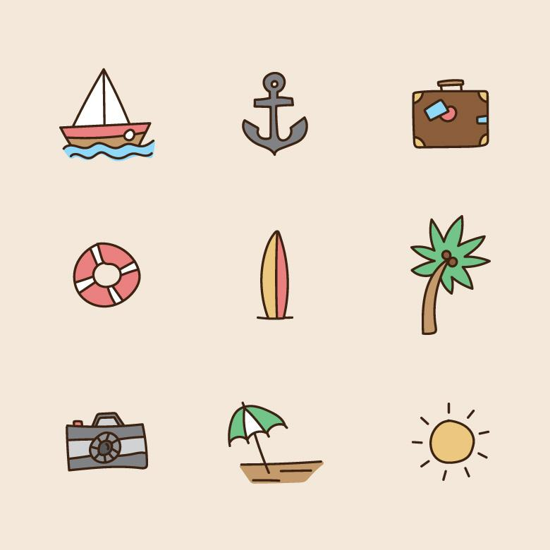 Doodled Colorful Summer Icons - Free Stock Photo by Sara on