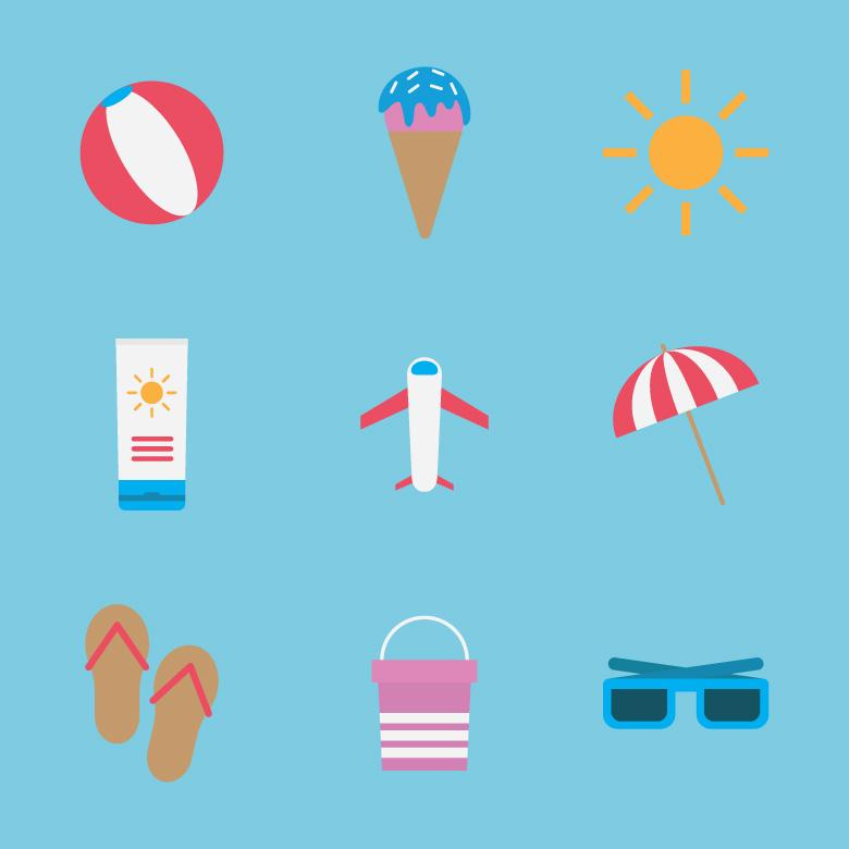 Free Stock Photo of Flat Colorful Summer Icons Created by Sara