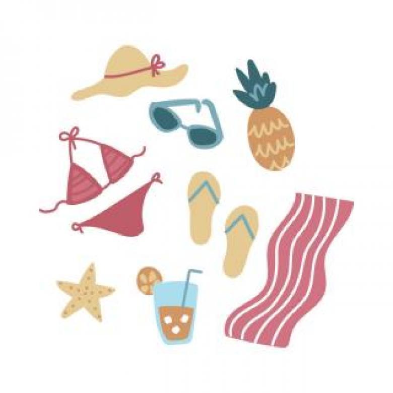 Feminine Doodled Summer Icons - Free Stock Photo by Sara on
