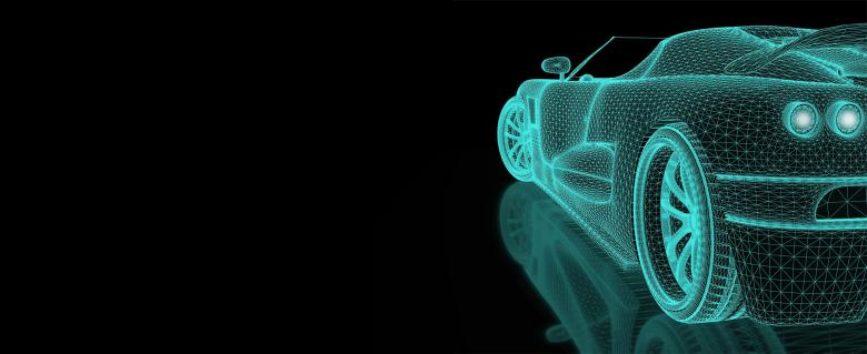Free Stock Photo of Engineering Simulation - Car Mesh with Copyspace Created by Jack Moreh