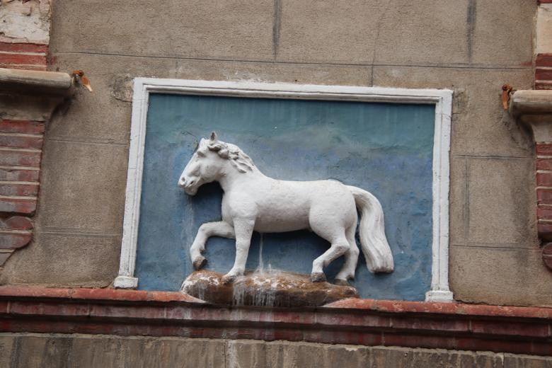Free Stock Photo of Sculpture of a white horse on a wall Created by GAIMARD Jacques