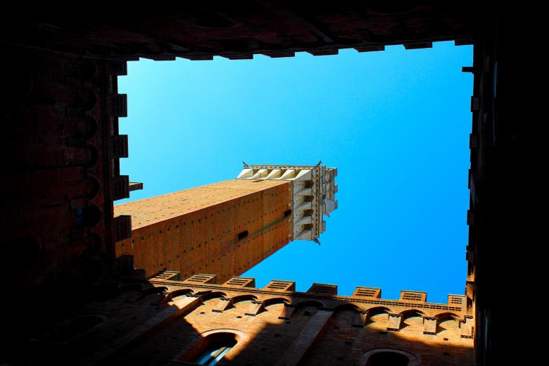 Free Stock Photo of Unusual Perspective of Torre del Mangia Created by Jack Moreh