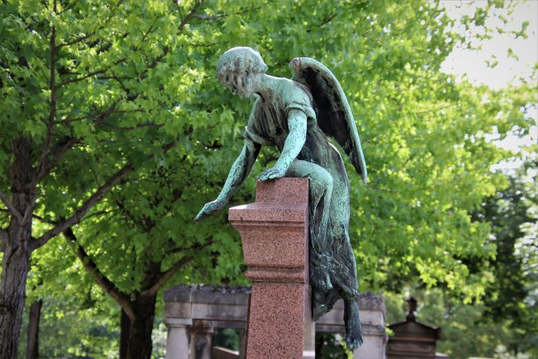 Free stock image of Bronze angel sculpture in a cemetery created by GAIMARD Jacques