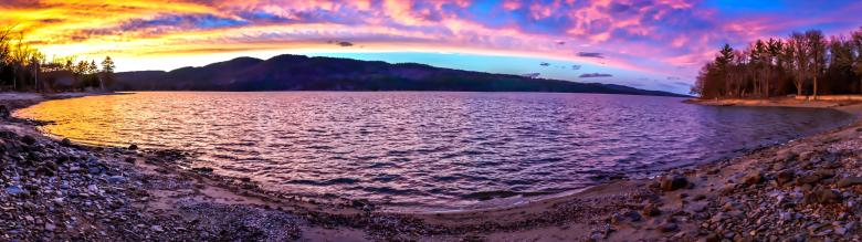 Free Stock Photo of Lake at Sunset - Panorama Created by Guy Banville