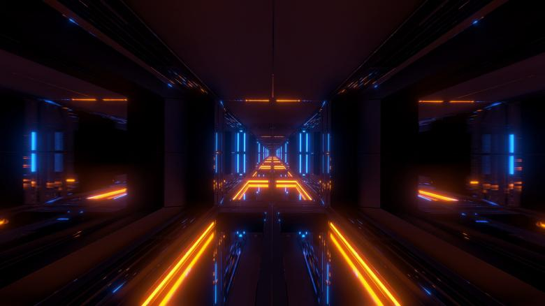 Free Stock Photo of Futuristic sci-fi temple tunnel with nice reflection background Created by tunnelmotions