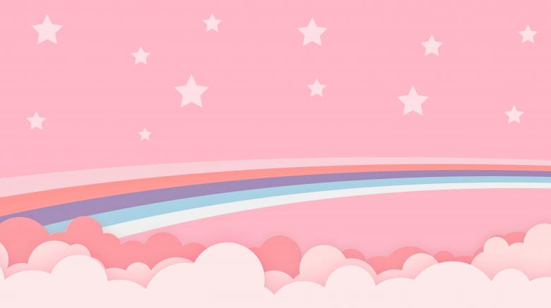 Free Stock Photo of Abstract Pink Kawaii Cloud & Rainbow Background Created by patchakorn phom-in