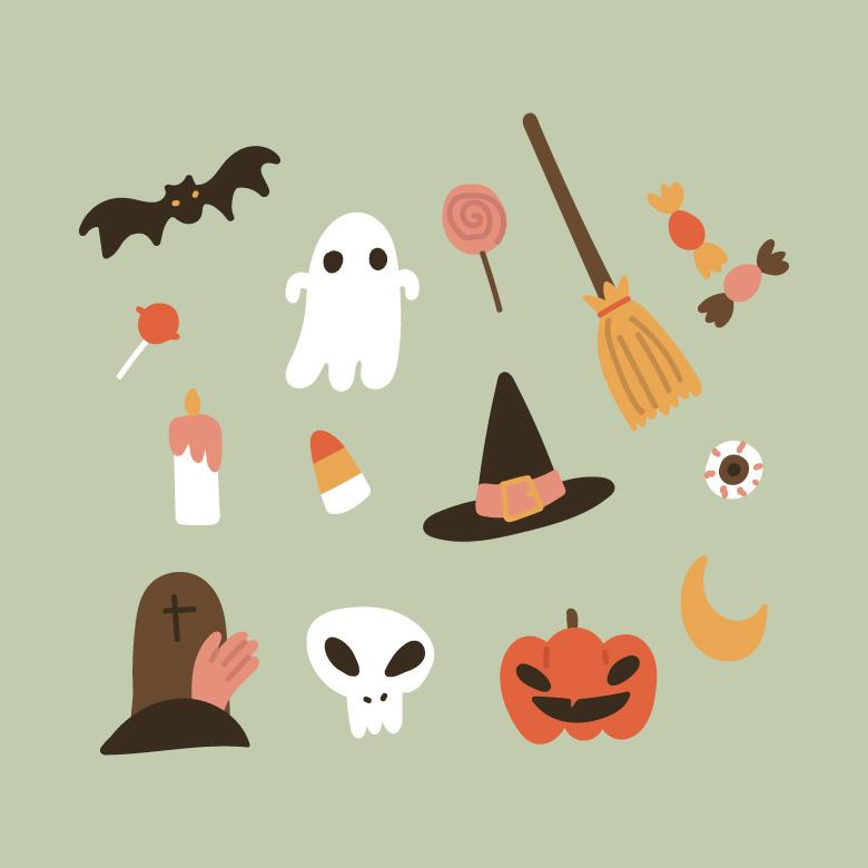 Free Stock Photo of Colorful Halloween Doodles Created by Sara