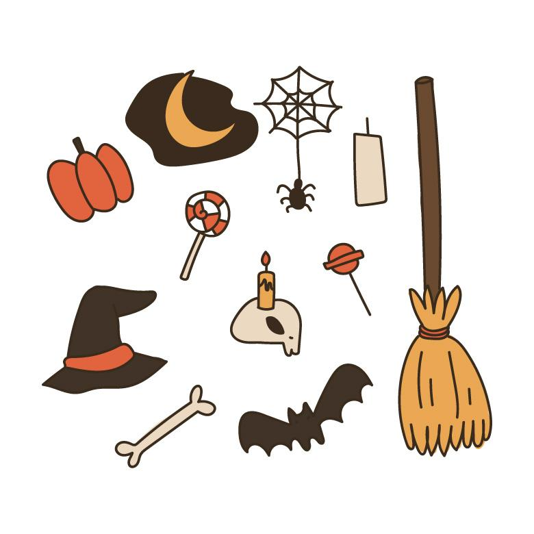 Free Stock Photo of Outlined Halloween Doodles Created by Sara