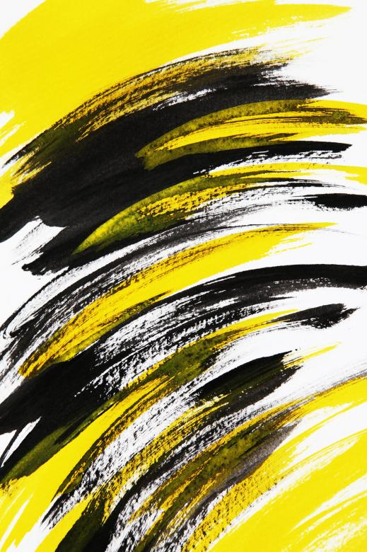 Free Stock Photo of Abstract Art - Black and Yellow Brush Strokes Created by Nika Akin