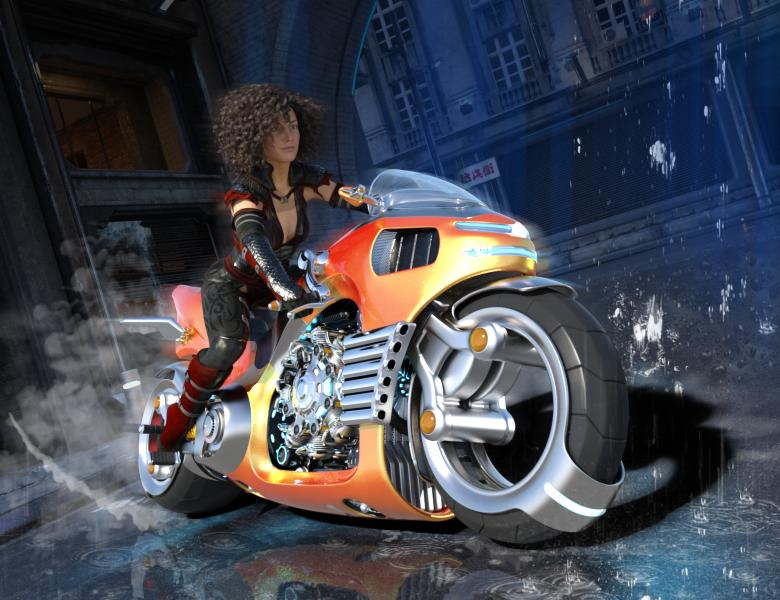 Free Stock Photo of Woman on Bike in the Street - 3D Render Created by ALBERTO  FABREGAS