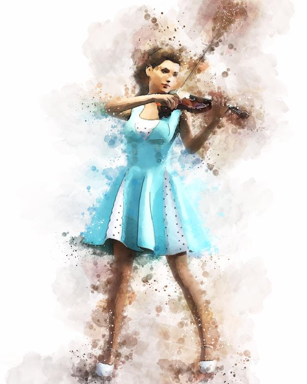 Free Stock Photo of Girl with violin in watercolor Created by ALBERTO  FABREGAS
