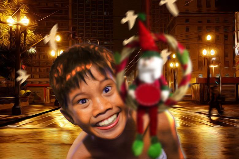 Free Stock Photo of Poor boy loves Christmas Created by ALBERTO  FABREGAS