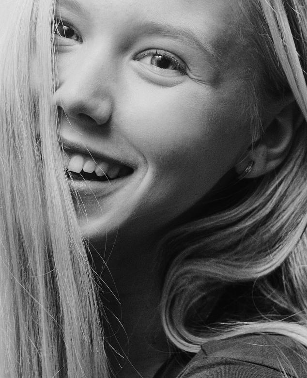 Free Stock Photo of Happy Blond - Model Portrait in Black and White Created by Alexander Krivitskiy