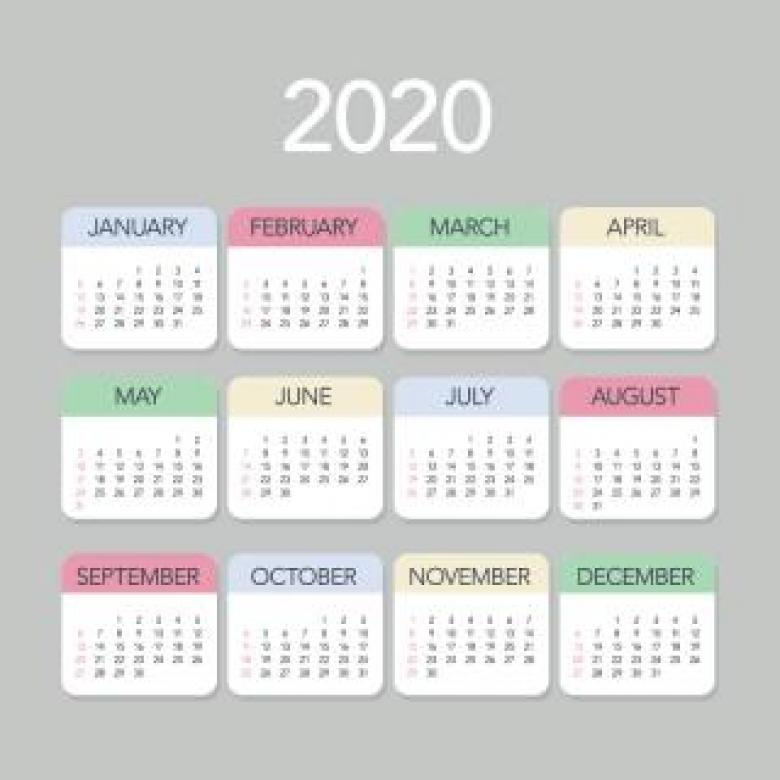 Free Stock Photo of Plain Colorful 2020 Calendar Created by Sara