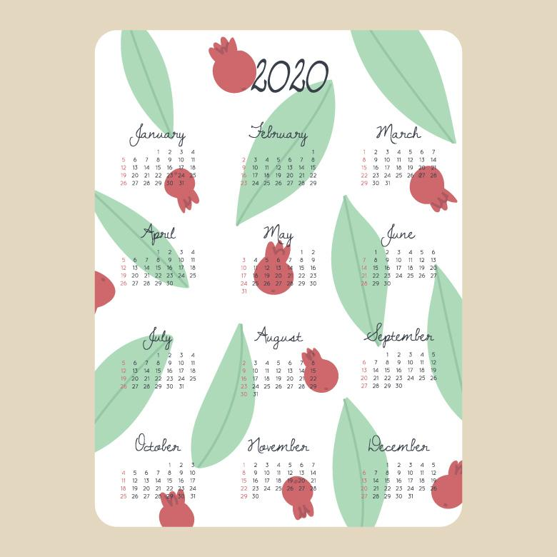 Free Stock Photo of Colorful Patterned 2020 Calendar Created by Sara