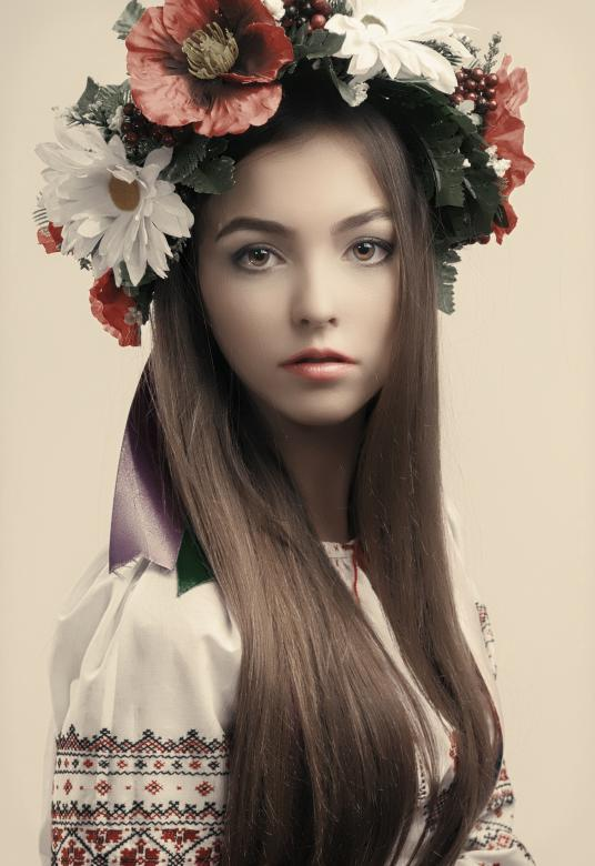 Free Stock Photo of Beautiful Girl with Flower Hat Created by Alexander Krivitskiy