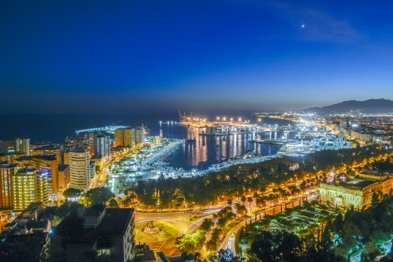Free Stock Photo of Busy harbour city at night Created by Jovani