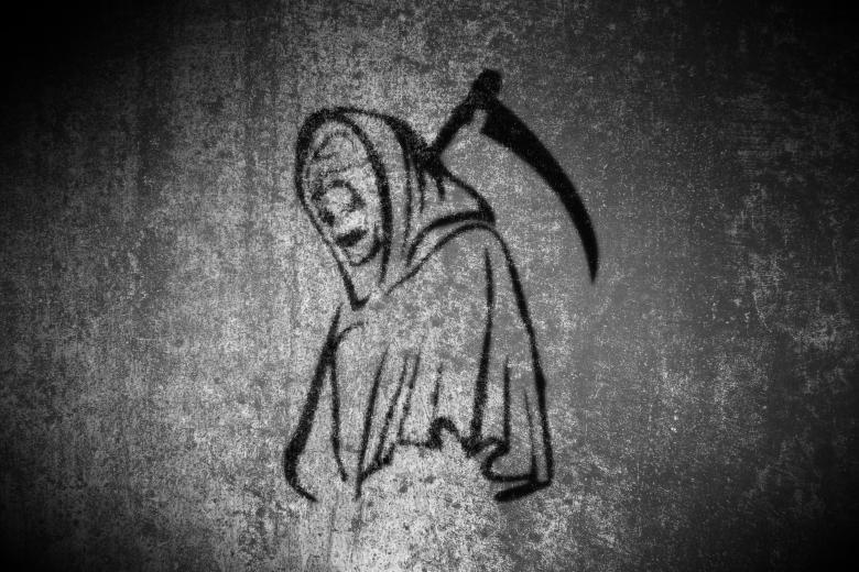 Free Stock Photo of Grim Reaper - On Grunge Background Created by Jack Moreh