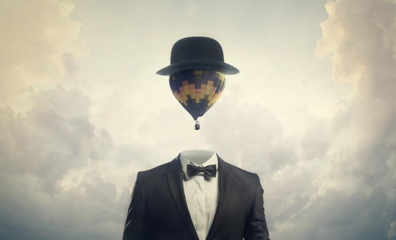 Free Stock Photo of Head in the Clouds - Businessman with Hot Air Balloon for a Head Created by Jack Moreh